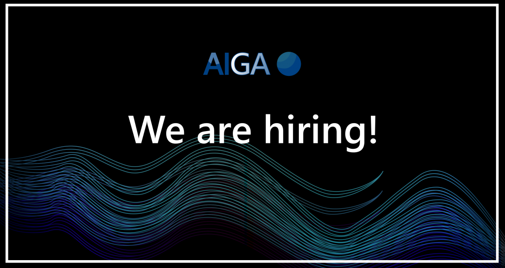 """AIGA logo with text """"We are hiring!"""""""